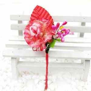 Floral embellishments, Pinkish red, 12cm x 4.5cm, 1 Flower, [ST1257]